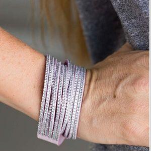 🆕 Genuine Lavender Suede & Crystal Wrap Bracelet